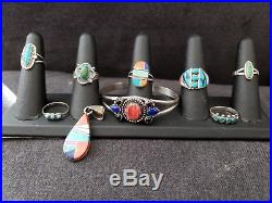 Vintage Sterling Silver Native American Jewelry Lot- Some Signed