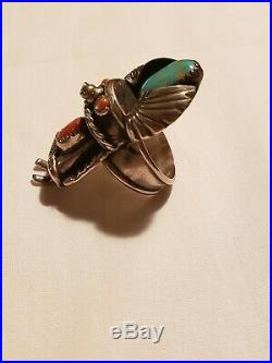 Vintage Sterling Silver Native American Kachina Ring/Turquoise And Coral