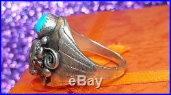 Vintage Sterling Silver Native American Mens Ring Signed DL Turquoise Red Coral