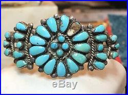 Vintage Sterling Silver Native American Old Pawn Cuff Bracelet Turquoise Zuni