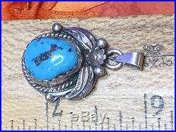 Vintage Sterling Silver Native American Pendant Kingman Turquoise Signed
