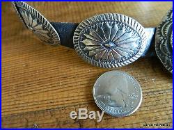 Vintage Sterling Silver Navajo Concho Belt Hallmarked withCROSSED ARROWS 18 Concho