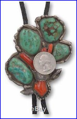 Vintage Sterling Silver Navajo Native American Ajax Turquoise and Coral Bolo
