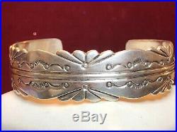 Vintage Sterling Silver Navajo Native American Bracelet Cuff Signed Fg