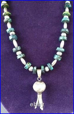 Vintage Sterling Silver Navajo Squash Blossom Pendant Turquiose Necklace MS 50G