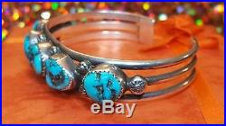 Vintage Sterling Silver Old Pawn Morenci Turquoise Cuff Bracelet Native America