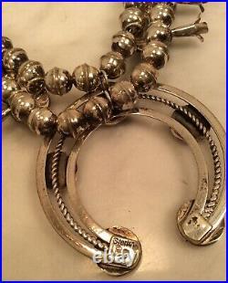 Vintage Sterling Silver PG Multi- Gemstone Squash Blossom Naja Bead Necklace