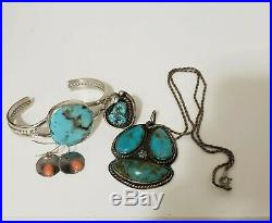Vintage Sterling Silver Signed Navajo Turquoise Jewelry Lot