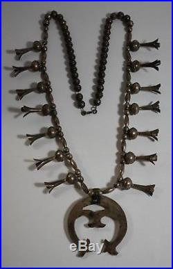 Vintage Sterling Silver Squash Blossom Necklace With Removable Naja