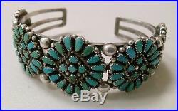 Vintage Sterling Silver Squash Blossom Turquoise Zuni Cuff Bracelet Native