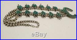 Vintage Sterling Silver Squash Blossom Turquoise Zuni Necklace Old Pawn Beads