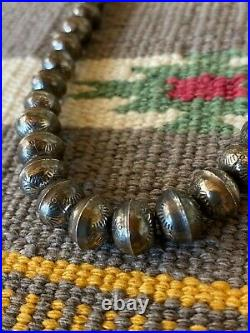 Vintage Sterling Silver Stamped Navajo Bench Bead Necklace 18 Long