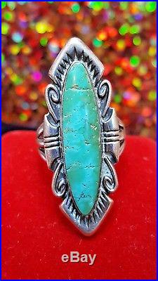 Vintage Sterling Silver Turquoise Gemstone Native American Ring Old Pawn Navette