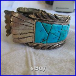 Vintage Sterling Silver & Turquoise Men's Cuff Watch Band