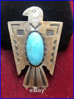 Vintage Sterling Silver Turquoise Native American Bolo Ties Signed Bell 1960's
