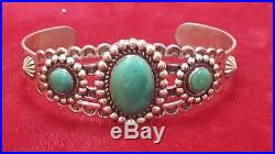 Vintage Sterling Silver Turquoise Native American Cuff Bracelet Southwestern
