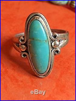 Vintage Sterling Silver Turquoise Ring & Royston Turquoise Necklace Bracelet