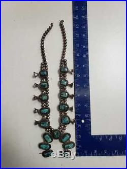 Vintage Sterling Silver Turquoise STORMY MOUNTAIN Squash Blossom Necklace