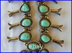 Vintage Sterling Silver & Turquoise Squash Blossom Necklace 234 grams