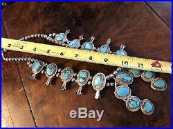 Vintage Sterling Silver Turquoise Squash Blossom Necklace 24 Unsigned Unmarked