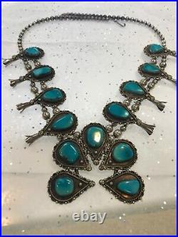 Vintage Sterling Silver Turquoise Squash Blossom Necklace 27