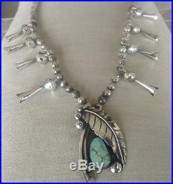 Vintage Sterling Silver+Turquoise Squash Blossom Necklace Signed Michael Horse