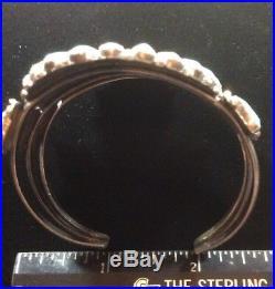 Vintage Sterling Silver Zuni Cluster Turquoise Cuff Bracelet Signed S