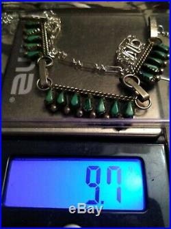Vintage Sterling Silver Zuni Petit Point Turquoise Necklace