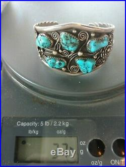 Vintage Sterling Turquoise Cuff Bracelet old pawn native American