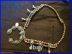 Vintage Sterling silver and turquoise Navajo squash blossom necklace