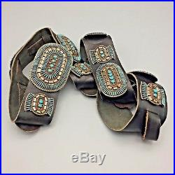 Vintage Turquoise Needlepoint and Sterling Silver Concho Belt Jason Yazzie