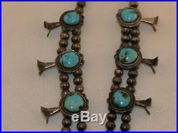 Vintage Turquoise Squash Blossom Necklace Native American Owned