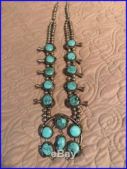 Vintage Turquoise Squash Blossom Necklace Sterling Silver 925, 226.7 grams