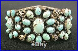 Vintage Turquoise & Sterling Cluster Bracelet Native American Indian Dead Pawn