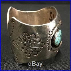 Vintage Turquoise & Sterling Cuff Bracelet Native American Indian Dead Pawn