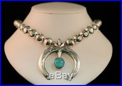 Vintage Turquoise Sterling Silver Naja Beaded Pendant Necklace- Stamped M. C