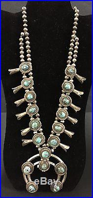 Vintage Turquoise & Sterling Silver Squash Blossom Necklace Dead Pawn