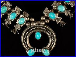 Vintage Turquoise and Sterling Silver Squash Blossom Necklace 90g