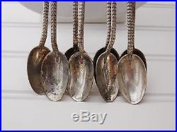 Vintage UITA 6 NAVAJO Turquoise Hand Tooled SNAKE Ice Tea Spoon Lot of 8