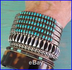 Vintage Wide Stamped Silver 5 Row Square / Rectangular Turquoise Cuff Bracelet