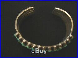 Vintage ZUNI Four-Row Petit Point Turquoise & Stamped Coin Silver Cuff Bracelet