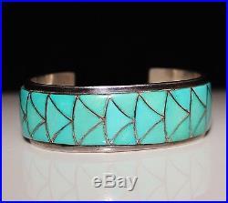 Vintage ZUNI Native American Turquoise Flush Inlay Cuff Bracelet ORLINDA NATEWA