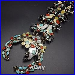 Vintage ZUNI Sterling Silver Multi Stone Inlay SQUASH BLOSSOM Necklace BIRDS