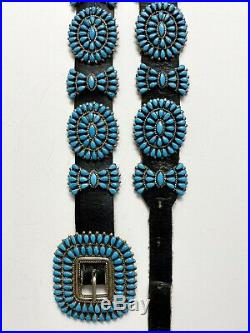 Vintage ZUNI Sterling Silver Sleeping Beauty Turquoise Cluster Concho Belt MINT
