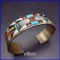 Vintage ZUNI Sterling Silver TURQUOISE Jet CORAL MOP Inlay Cuff BRACELET