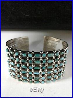 Vintage ZUNI TINY SNAKE EYE and NEEDLEPOINT TURQUOISE 6 Row Cuff Bracelet