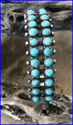 Vintage Zuni 2 ROW Sterling Silver Turquoise Petit Point Snake Eye Cuff Bracelet