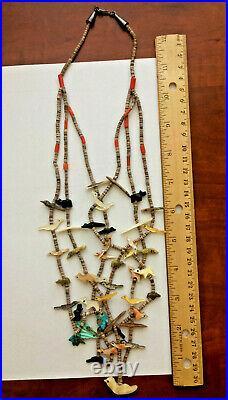 Vintage Zuni 3 Strand Fetish Necklace- Leki, Lavana, Tsikewa, Kushana