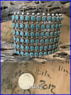 Vintage Zuni 6 ROW Sterling Silver Turquoise Petit Point Snake Eye Cuff Bracelet