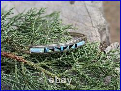 Vintage Zuni Cuff Bracelet Turquoise Inlay Minimalist Sterling Silver Signed